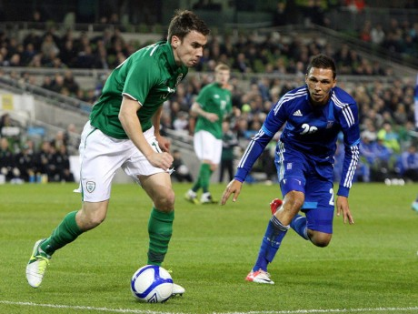Seamus Coleman, pictured playing for Ireland against Greece.