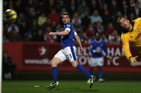 Seamus Coleman finds the net against Cheltenham on Monday night.