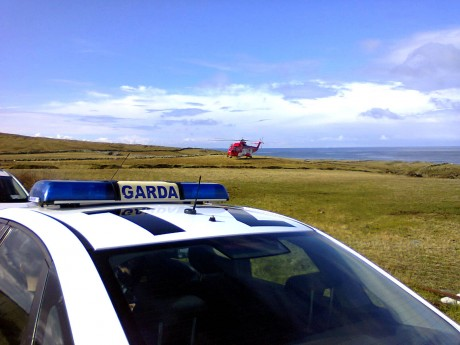 Gardai and Coast Guard Helicopter on scene in Mullaghmore yesterday morning. Photo: RNLI Bundoran