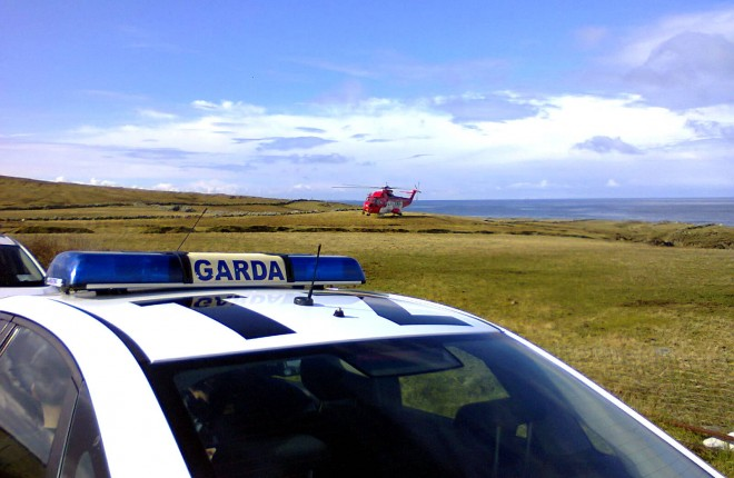 Gardai and Coast Guard Helicopter on scene this morning in Mullaghmore - pic RNLI