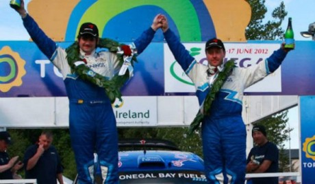 Gary Jennings celebrates winning the 2012 Donegal International Rally.