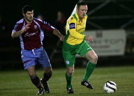 Shaun McGowan in action against Mervue. Photo: Gary Foy