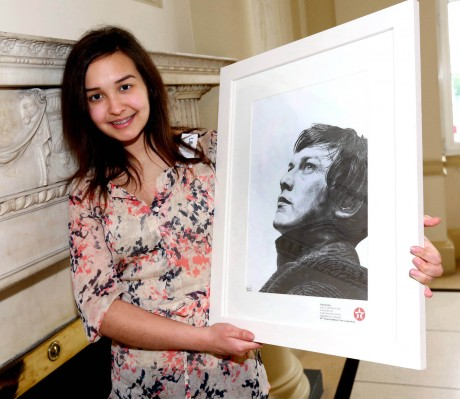 Lilla Kardos (15) and her portrait of James McAvoy.
