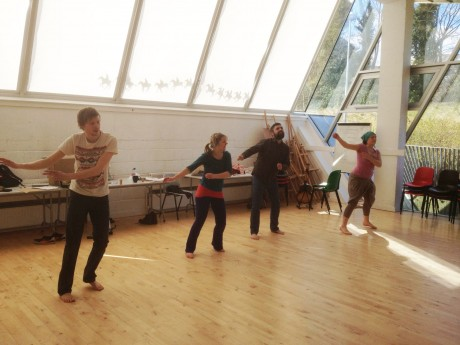Fionn Robinson, Aoife Toner, Andrew Galvin and Susie Lamb during rehearsals at the Regional Cultural Centre, Letterkenny.