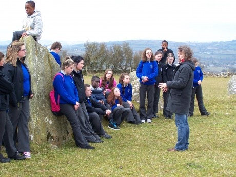 Storyteller Joe Brennan joined first year students from Errigal College at Beltony Stone Circle last Friday