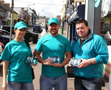 Kristian Capulet Shortt and John Gibbins, aka Chubbz (members of group The Special Branch), with Zabrina Collins (nee Shortt) handing out leaflets on The Truth About Drugs in Letterkenny recently.