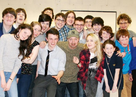 Saoirse Ronan and her father Paul with members of An Grianán Youth Theatre on Wednesday night.