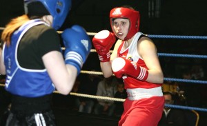 Finn Valley ABC fighter Austeja Auciute on her way to victory over Saibh Greene of Ballinacarrow Boxing Club from Sligo