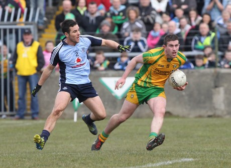 Patrick McBrearty in action against Dublin on Sunday.