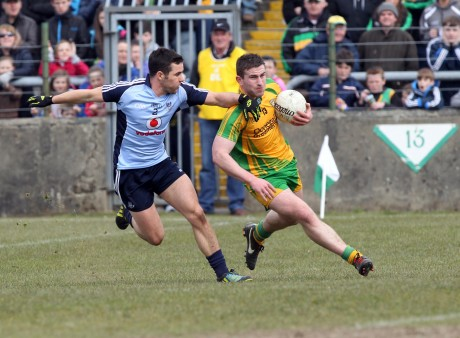 Patrick McBrearty in action against Kevin O'Brien during the recent National League game in Ballybofey.
