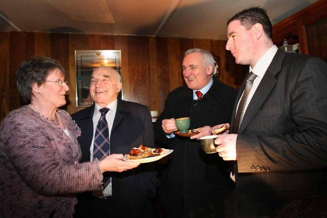 The late Harry Blaney with his wife Margaret, son Niall and former taoiseach Bertie Ahern.
