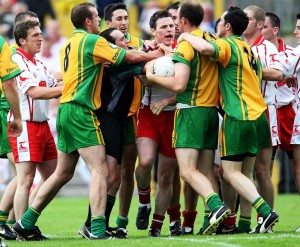 Tempers fray between Conor Gormley and Colm McFadden in 2007.