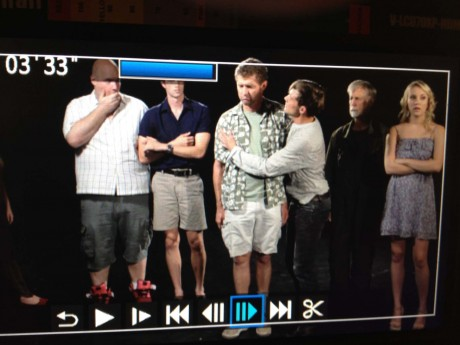 A view of the cast from Chris' director's screen during the filming of Black Box season finale.