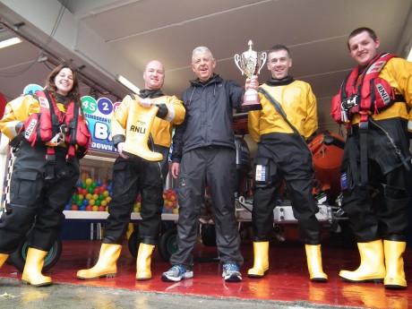 Last year's winner Ogie O'Kelly with Bundoran RNLI's Daimon Fergus, Brian Faulkner and Roisin Acheson.