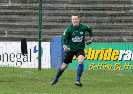 Ciaran Gallagher made a fine last-gasp save to send Finn Harps second in the table.