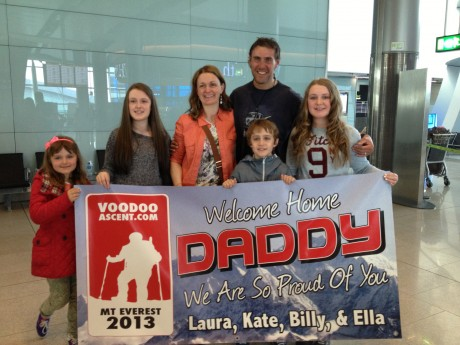 Jason Black was welcomed at Terminal 2 by his wife Sharon and their children yesterday morning.