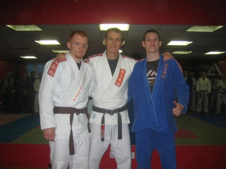 Friends reunited (l-r): Stephen Coll, Master Rilion Gracie and Brian 'Barney' Coyle last Tuesday evening.