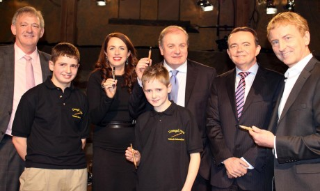 Meeting the Dragons....Ronan and Conor Mc Garvey of Donegal Pens pictured in the den with the five dragons from the RTE Dragon's Den series. From left, Peter Casey, Ramona Nicholas, Gavin Duffy, Barry O Sullivan and Sean O Sullivan.