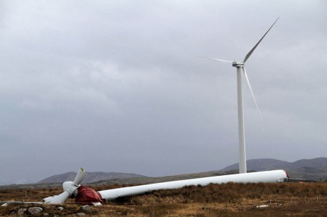 The wind turbine which fell near Ardara earlier this year.