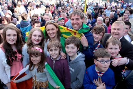Everest climber Jason Black with his wife Sharon and family and Mayor of Letterkenny, Cllr. Dessie Larkin and scouts at the welcome home reception at Market Square, Letterkenny on Monday evening. Photo: Declan Doherty