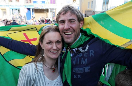 Jason and Sharon Black at the welcome home reception in Letterkenny on Monday night.