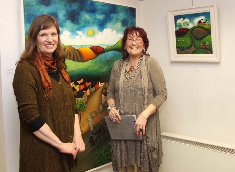 Artist Joellen Brydon and Janet Ross at the Exhibition in Ross Fine Art gallery.