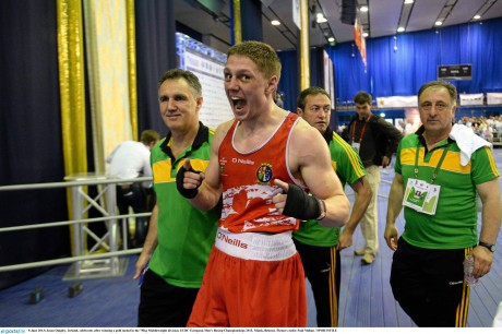 Jason Quigley celebrates after winning a gold medal in the 75Kg Middleweight division at the European Championships in June.