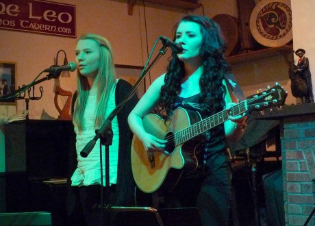 Olivia and Sinead Sharkey performing at Moya Brennan's monthly singer's club, CluBeo, at Leo's.