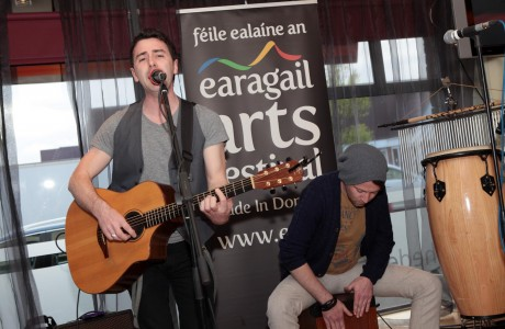Mickey Joe Harte and Mickey D performing at the launch of the Earagail Arts Festival in the Station House Hotel on Friday night.