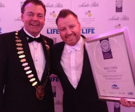 Gary O'Hanlon (right) is presented with his award for Best Chef In Leinster.