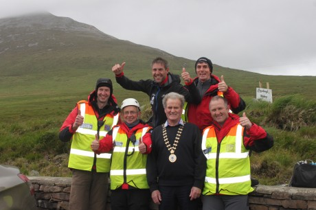 Jason Black with the new county mayor, Cllr Ian McGarvey, and members of the Donegal Mountain Rescue Team. PHOTOS: Courtesy of Christopher Curran