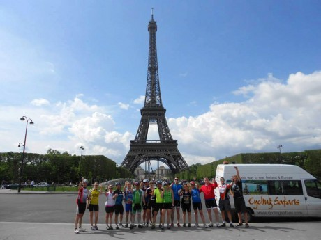 Jordanna Boyle, Cois Claidigh, second from left, and her fellow charity cyclists at the Eiffel Tower.