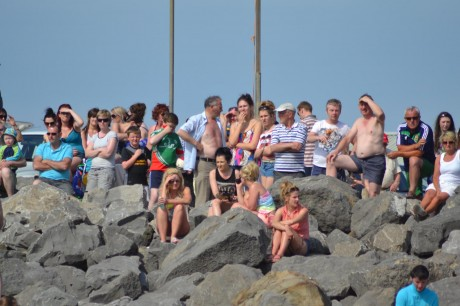 Anxious onlookers watch the drama unfold at Rossnowlagh as a full air and sea search gets underway for a missing child. Fortunately the child was found unharmed.