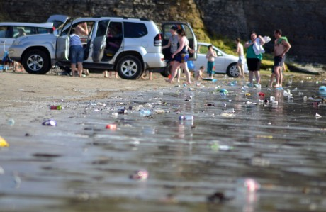 The splendour of Rossnowlagh beach was tarnished by discarded rubbish on Sunday.