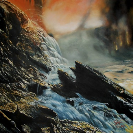 Falcarragh painter Shaun McFadden's painting Blow Hole, currently on display at An Grianán.