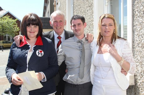 Paddy Crerand with family members Ursula Curran-Coll, John Curran and Jade Curran.