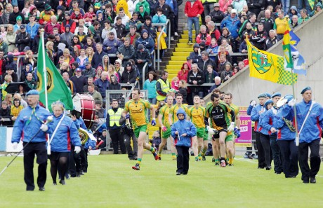 Donegal keen to get started after the pre-match parade in Breffni park for teh Ulster semi-final on Sunday. Photo: Donna McBride