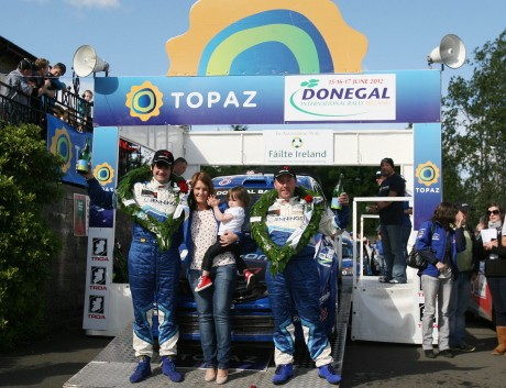 Garry Jennings and Neil Doherty winners of the Topaz Donegal International Rally in 2012.