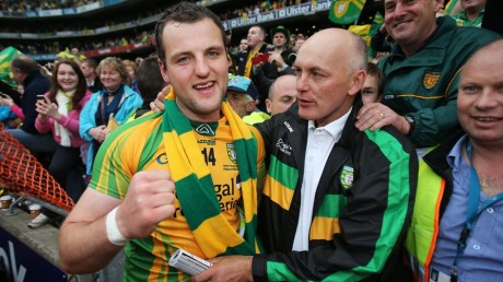 Michael Murphy is congratulated by Anthony Molloy after the All-Ireland final.