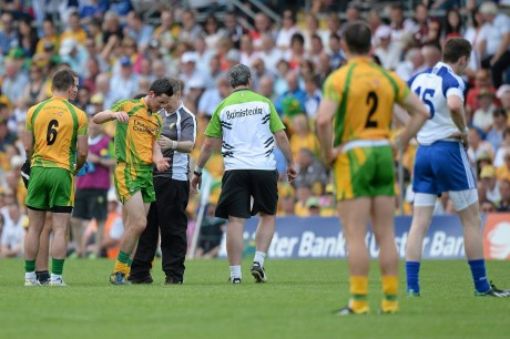 21 July 2013; Mark McHugh, Donegal, leaves the field with an injury. His loss was a huge blow to Donegal.
