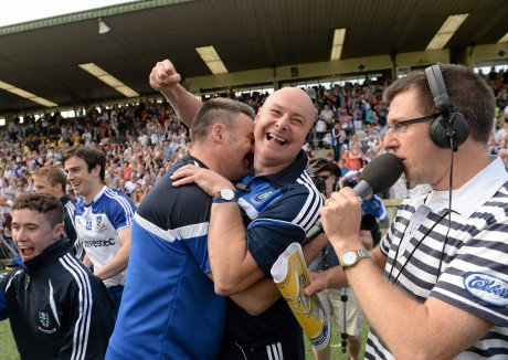 Monaghan manager Malachy O'Rourke celebrates at the final whistle.