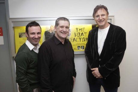 Michael Condron and Dan Gordon meet Liam Neeson at one of their performances of The Boat Factory in New York recently.