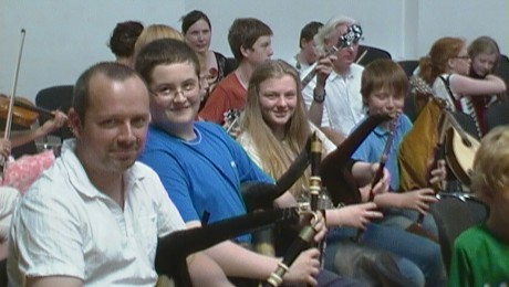 Uilleann Pipe Students at Fridays Ceol na Coille Concert with their Tutor for the Week, Martin Crossin.