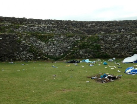Debris left behind in the Grianan of Aileach ring fort.