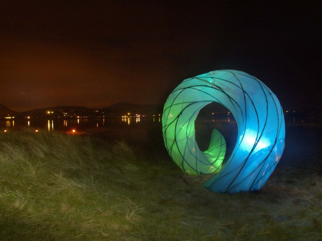 One of the An Cosan Glas illuminated sculptures Magheraroarty Beach is a very popular annual event during the Earagail Arts Festival.