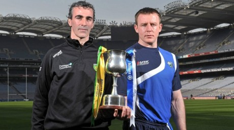 Jim McGuinness and Justin McNulty before the 2011 National League Division 2 final - their paths cross again on Saturday night,