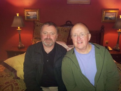 Mick Blake and Christy Moore after their performance together.
