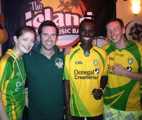 Rory Gallagher and Jimmy with Donegal fans Mairead O'Donnell and Daniel Cannon from Dunlewey.