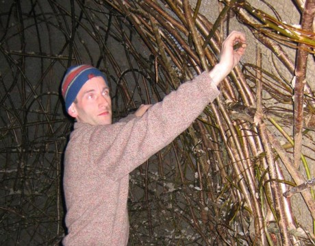 Tim Johnson weaving willow.