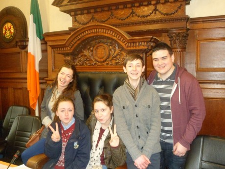 Aine McLaughlin and youth councillors Gemma Lynch, Brian Heeney, Shane Hegarty and Tianna Ward on visit to Chamber earlier this year.